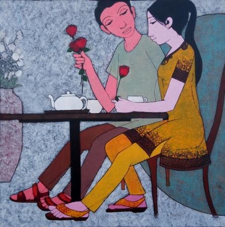 Figurative Acrylic Art Painting title Date by artist Rahul Mhetre