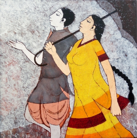 Figurative Acrylic Art Painting title 'Happy Monsoon' by artist Rahul Mhetre