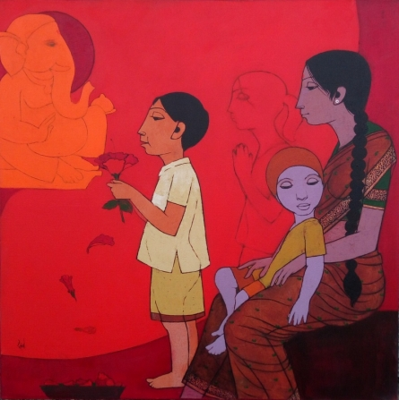 Figurative Acrylic Art Painting title 'Pray With Jaswand' by artist Rahul Mhetre