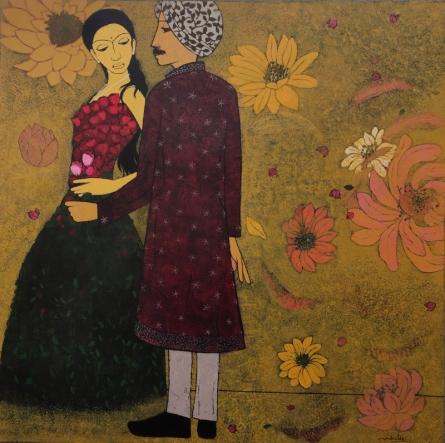Figurative Acrylic Art Painting title Romance by artist Rahul Mhetre