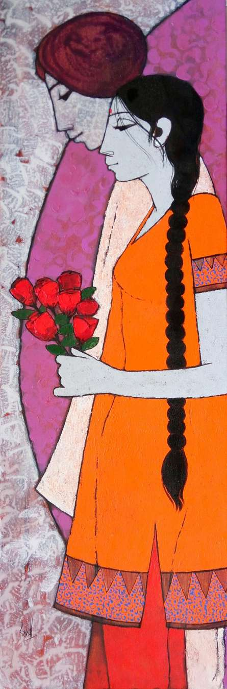 Figurative Acrylic Art Painting title Rose by artist Rahul Mhetre