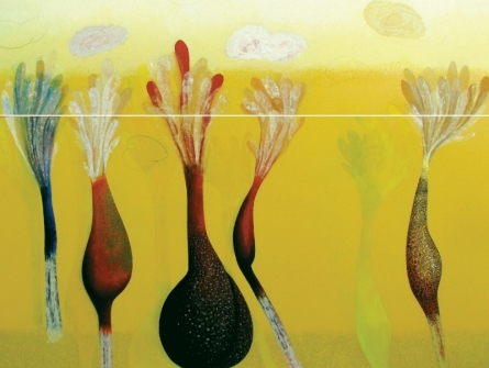 Uday Goswami | Mixed-media Painting title Ankuran Series 8 on Canvas | Artist Uday Goswami Gallery | ArtZolo.com