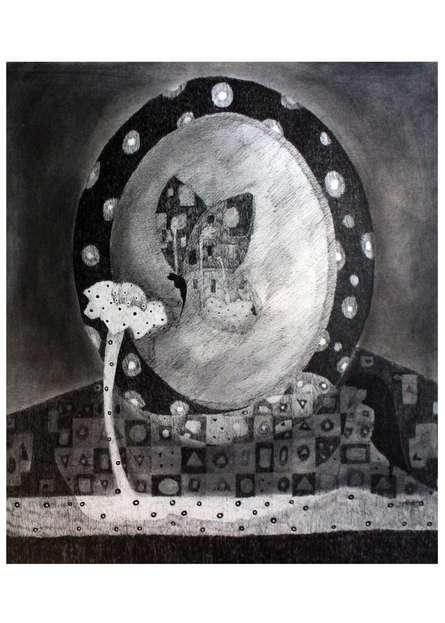 Animals Charcoal Art Drawing title 'Butterfly' by artist Prathamesh Khandvilkar
