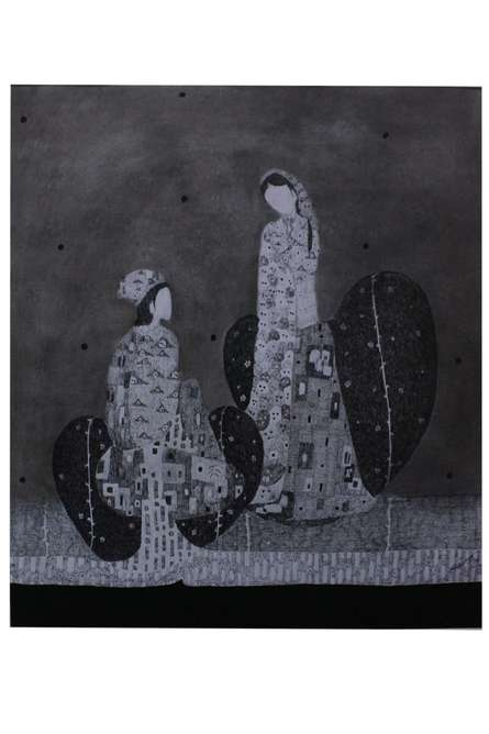 Figurative Charcoal Art Drawing title 'Couple 3' by artist Prathamesh Khandvilkar
