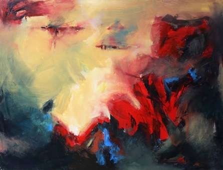 Abstract Acrylic Art Painting title Mountain by artist NIkHIl Patil