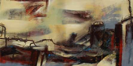 Cityscape Acrylic Art Painting title 'Machine' by artist NIkHIl Patil