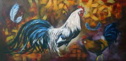 Animals Acrylic Art Painting title Cock by artist NIkHIl Patil