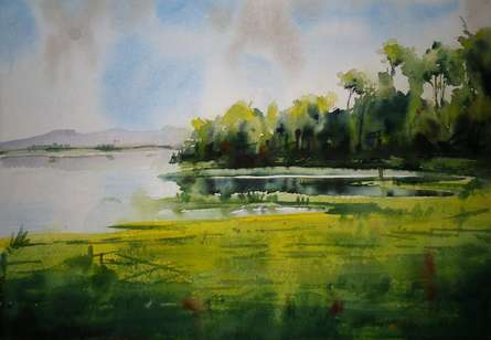 Landscape | Painting by artist NIkHIl Patil | watercolor | Canvas Board