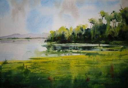 Landscape   Painting by artist NIkHIl Patil   watercolor   Canvas Board