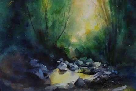 Landscape Watercolor Art Painting title Landscape by artist NIkHIl Patil