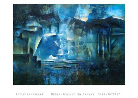 Abstract Acrylic Art Painting title Landscape by artist NIkHIl Patil
