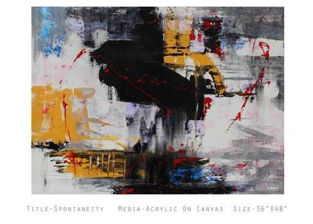 Abstract Acrylic Art Painting title 'Spontaneity' by artist NIkHIl Patil