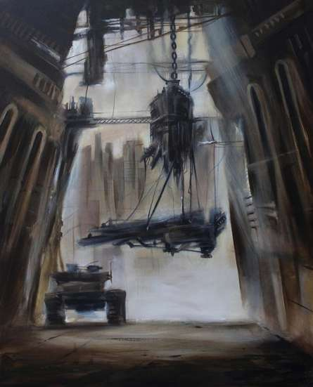 Cityscape Acrylic Art Painting title 'Machine' by artist NIkHIl Patil