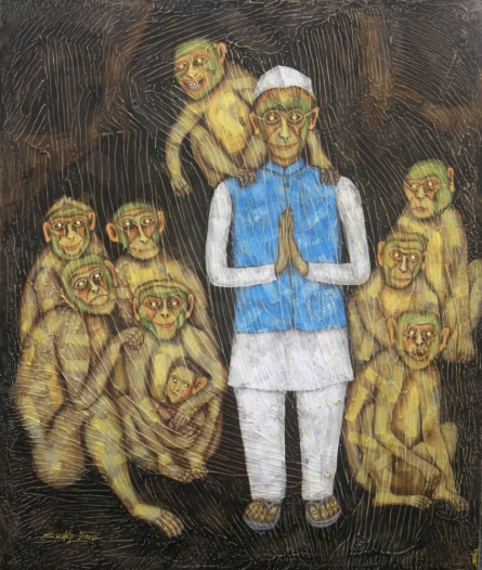 Monkey - whoops | Painting by artist Sudip Das | tempera | Canvas