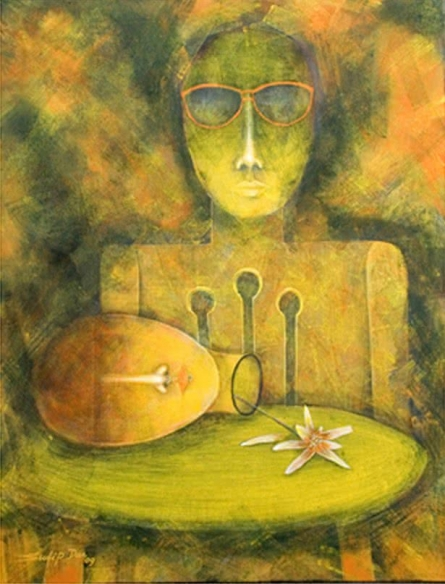 Figurative Tempera Art Painting title 'Madhya Rater Table ea' by artist Sudip Das