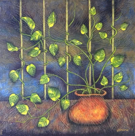 Nature Tempera Art Painting title The Window by artist Sudip Das
