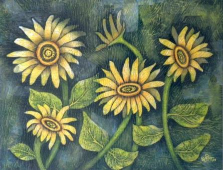 Flowers | Painting by artist Sudip Das | tempera | Canvas