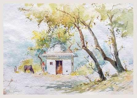 Temple | Painting by artist Swapnil Mhapankar | watercolor | Handmade Paper