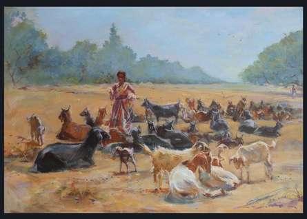 Landscape Acrylic Art Painting title 'Dhangar lady' by artist Swapnil Mhapankar