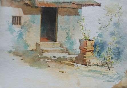 Landscape Watercolor Art Painting title Tulsi by artist Swapnil Mhapankar