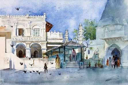 Babulnath-temple | Painting by artist Swapnil Mhapankar | watercolor | Handmade Paper