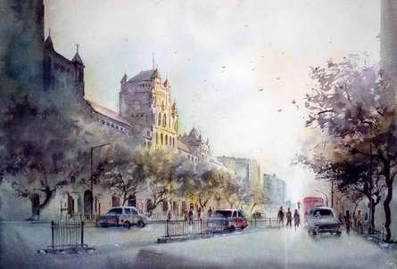 Cityscape Watercolor Art Painting title 'Elphinstone College' by artist Swapnil Mhapankar