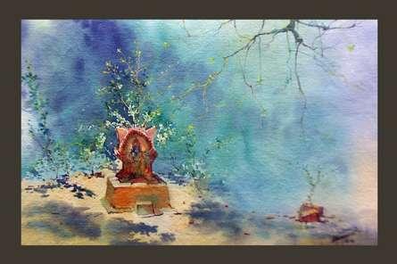 Tulsi - vrindavan | Painting by artist Swapnil Mhapankar | watercolor | Handmade Paper