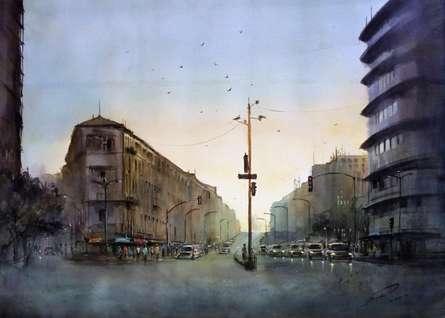Cityscape Watercolor Art Painting title 'Grantroad nanachowak' by artist Swapnil Mhapankar