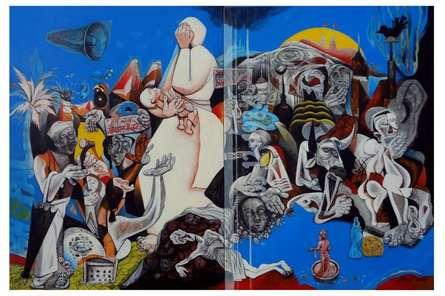 Figurative Acrylic Art Painting title 'Bhopal Gas Tragedy' by artist Mahesh Pal Gobra