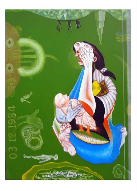 Mother & Child - II | Painting by artist Mahesh Pal Gobra | acrylic | canvas