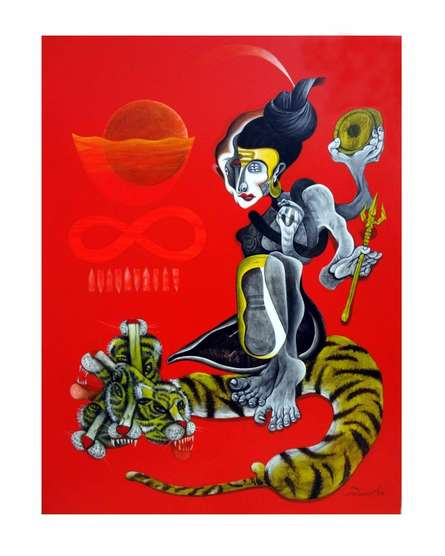 Folk Art Acrylic Art Painting title 'The Shiva' by artist Mahesh Pal Gobra