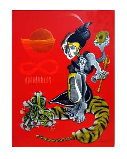 The Shiva   Painting by artist Mahesh Pal  Gobra   acrylic   canvas