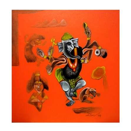 Folk Art Acrylic Art Painting title Lord Ganesha by artist Mahesh Pal Gobra