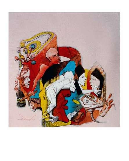 Figurative Acrylic Art Painting title 'Women' by artist Mahesh Pal Gobra