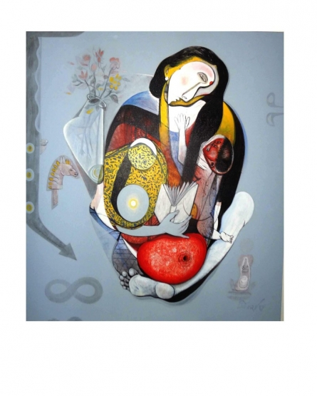 Mother & child -III | Painting by artist Mahesh Pal  Gobra | acrylic | canvas
