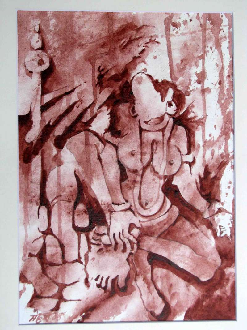 Figurative Acrylic Art Painting title The Form of Sculpture VI by artist Mahesh Pal Gobra