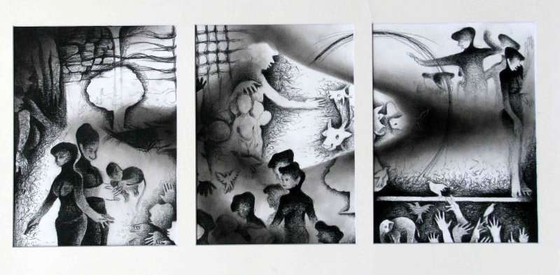 Figurative Charcoal Art Drawing title 'The Village Life ' by artist Mahesh Pal Gobra