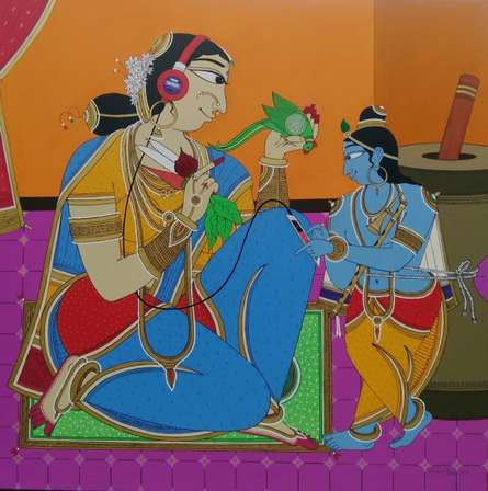 Figurative Acrylic Art Painting title 'Krishna finding a song' by artist Shahed Pasha