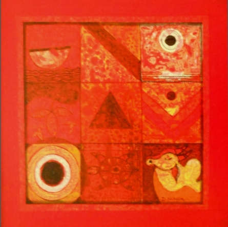 Abstract Acrylic Art Painting title 'Meditation 5' by artist Nilesh Nikam