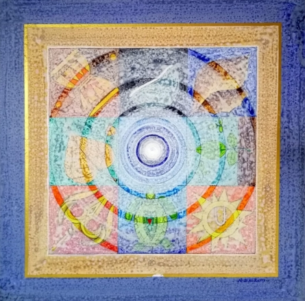Abstract Acrylic Art Painting title Meditation 93 by artist Nilesh Nikam