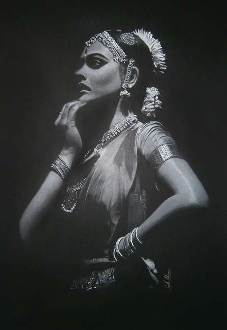 Realistic Charcoal Art Drawing title 'Stare' by artist Sujith Puthran
