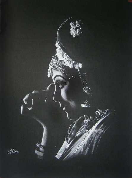 Bharatanatyam VI | Drawing by artist Sujith Puthran |  | charcoal | Paper
