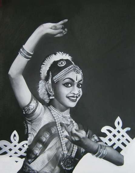 Realistic Charcoal Art Drawing title 'Bharatanatyam III' by artist Sujith Puthran