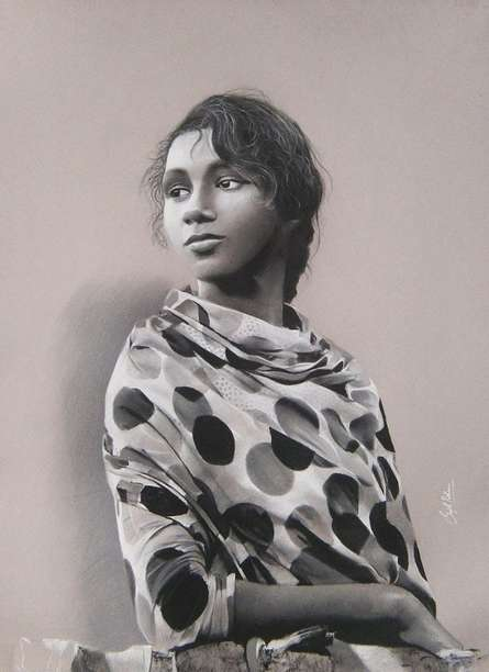 Realistic Charcoal Art Drawing title 'Rachna' by artist Sujith Puthran