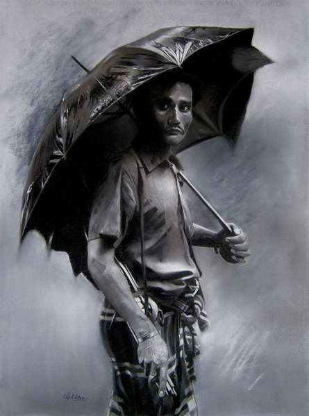 Realistic Charcoal Art Drawing title Rainyday by artist Sujith Puthran