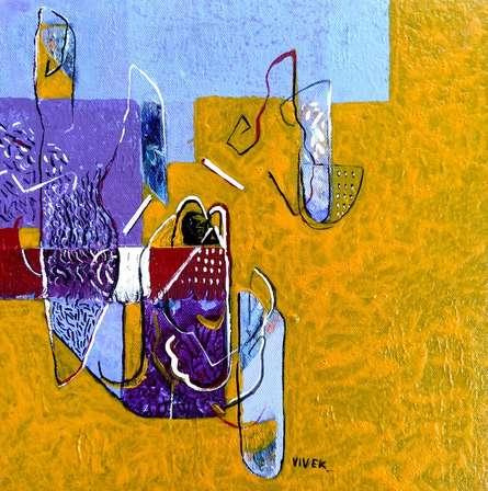 Abstract Acrylic Art Painting title Untitled 22 by artist Vivek Nimbolkar
