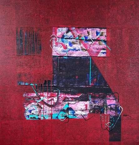 Abstract Acrylic Art Painting title Untitled 26 by artist Vivek Nimbolkar