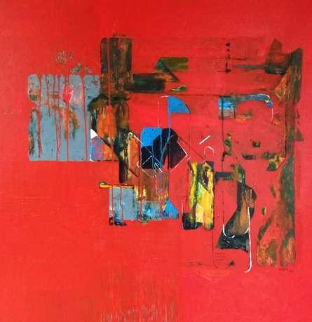 Abstract Acrylic Art Painting title Untitled 32 by artist Vivek Nimbolkar