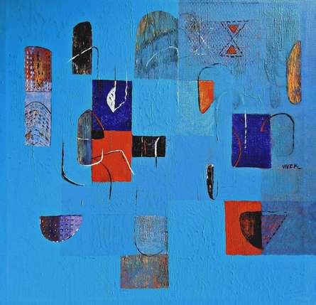 Abstract Acrylic Art Painting title Untitled 34 by artist Vivek Nimbolkar