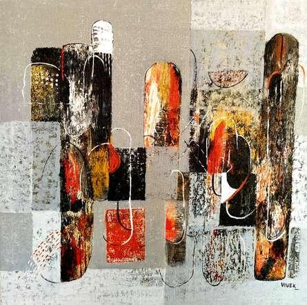 Abstract Acrylic Art Painting title Untitled 37 by artist Vivek Nimbolkar